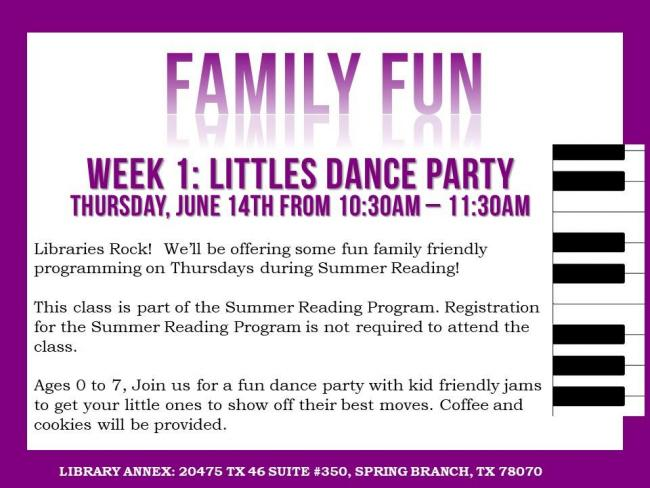 Littles Dance Party - Summer Reading Program | Kids Out and
