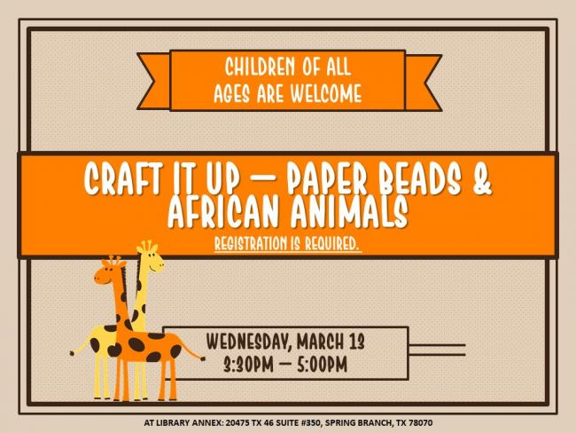 Craft It Up Paper Beads African Animals Kids Out And