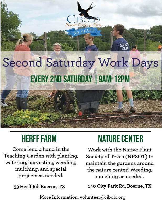 Second Saturday Work Days Cibolo Nature Center And Farm Kids Out